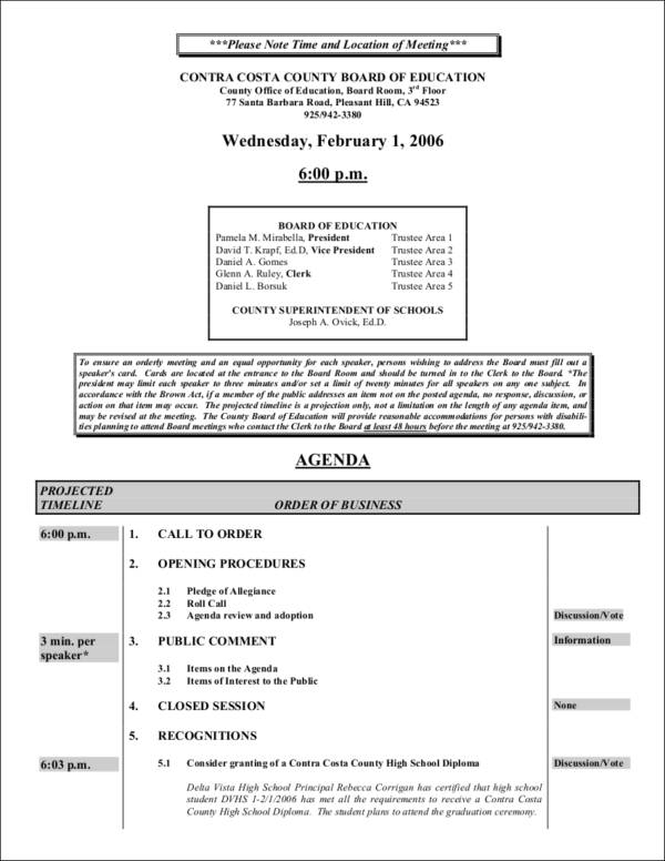 board of education meeting agenda template