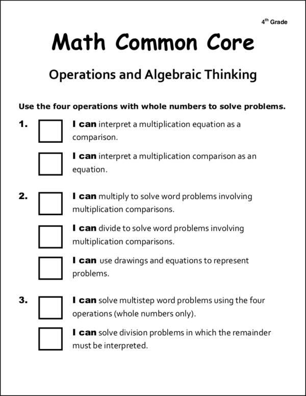 common core checklist for students