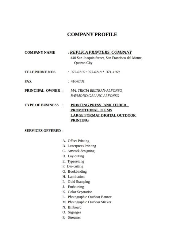 company profile format for new company