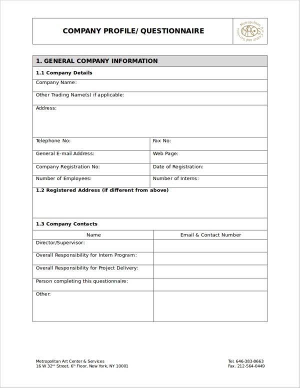 company profile questionnaire