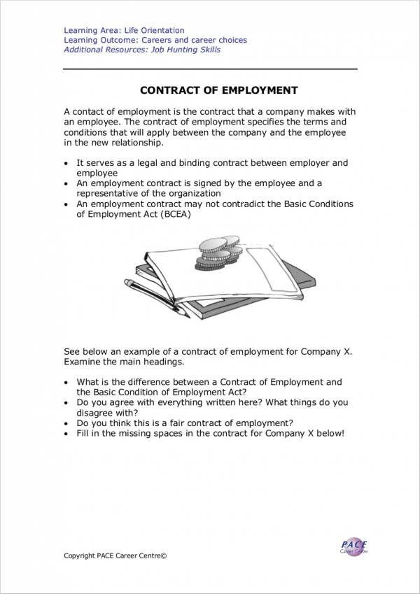 contract of employment to download