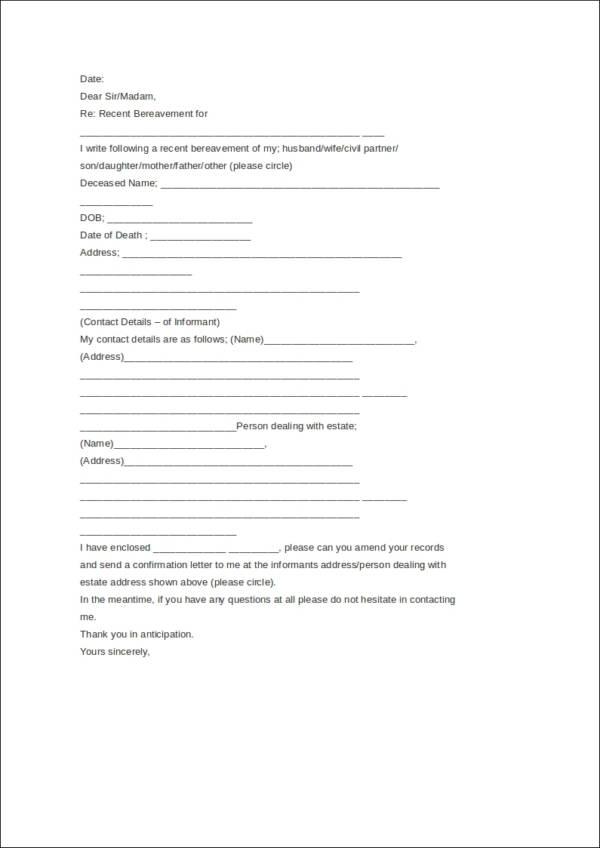 death notice letter template