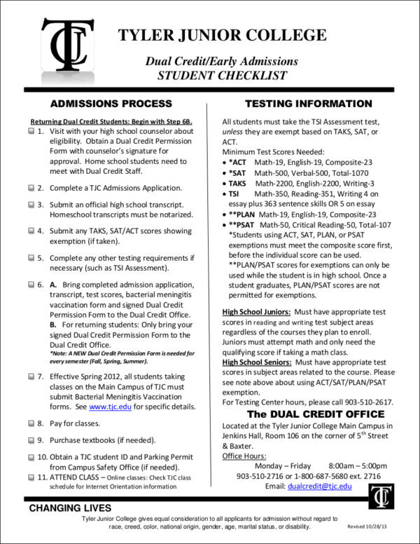 early admission student checklist