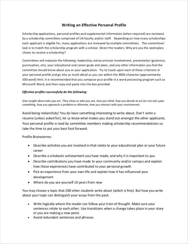 11 Personal Profile Samples Pdf Doc