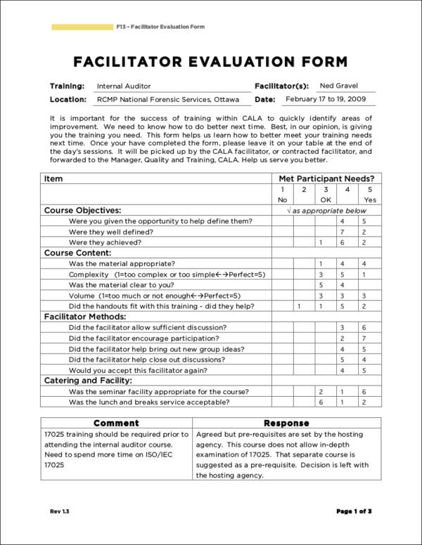 facilitator training evaluation form sample