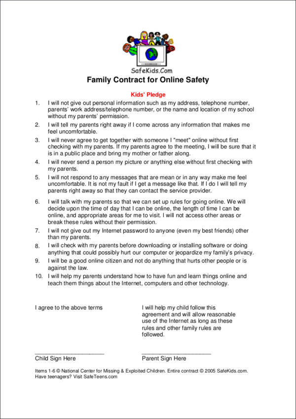 Charming 14 Safety Contract Template Free Word, PDF Format Download