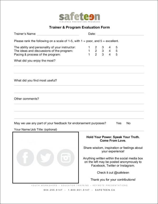 fillable trainer program evaluation form