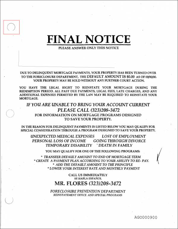 final payment notice sample for mortgage