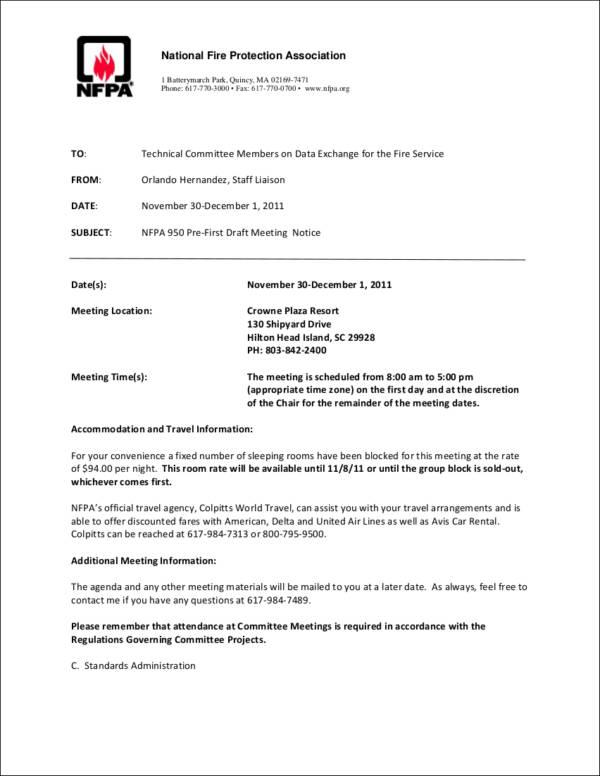fire department meeting notice sample