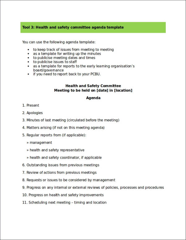 health and safety agenda template for the health and safety committee