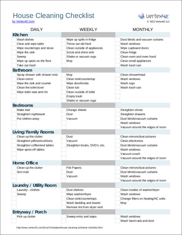 house cleaning checklist template1