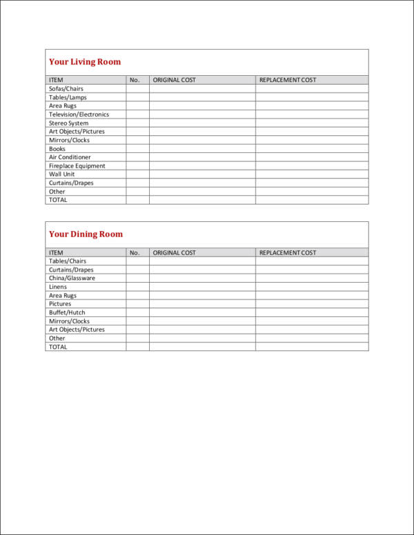 household inventory checklist sample