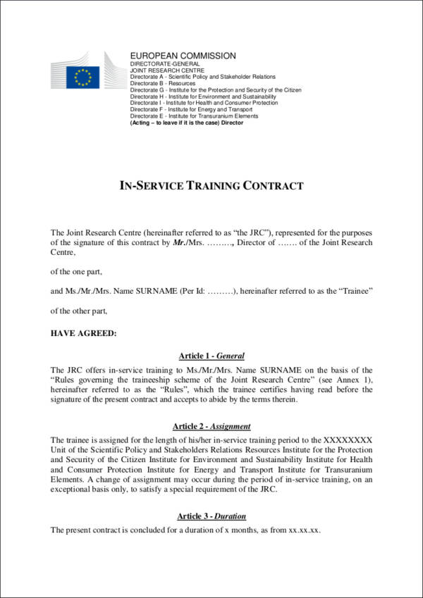 in service training contract template
