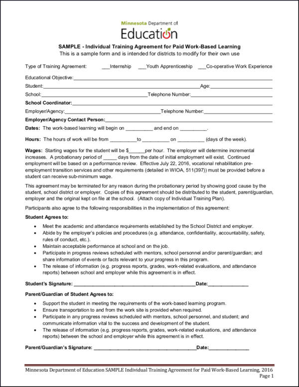15 training contract samples templates sample templates for Apprenticeship contract template