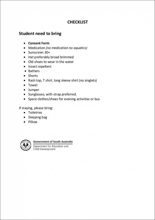 items checklist for students