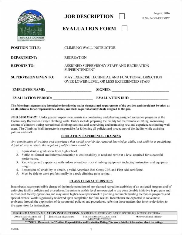 job description evaluation form template