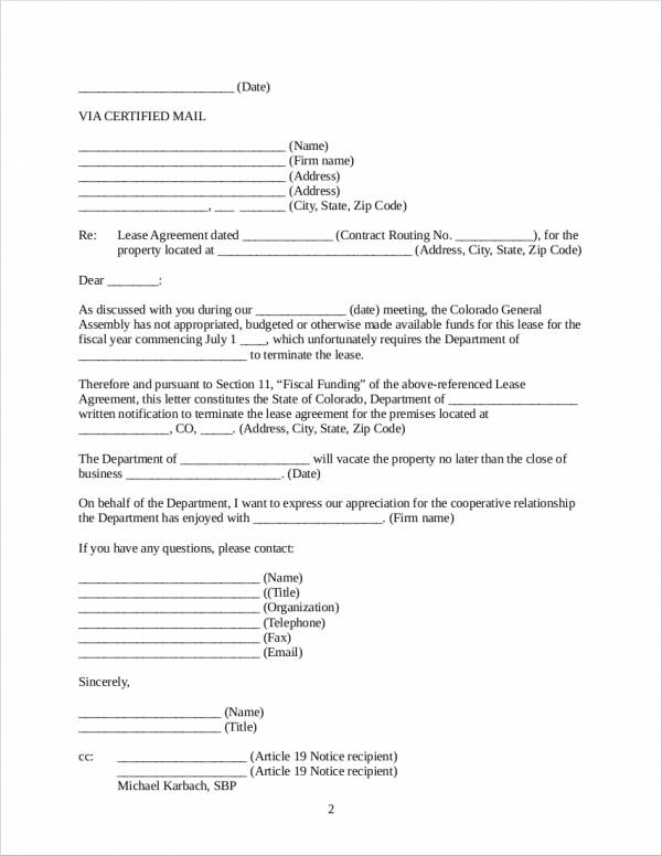 31 Contract Termination Letter In Word