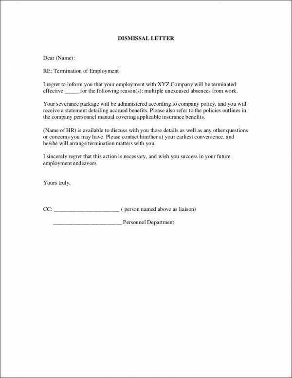 letter for dismissal of employement