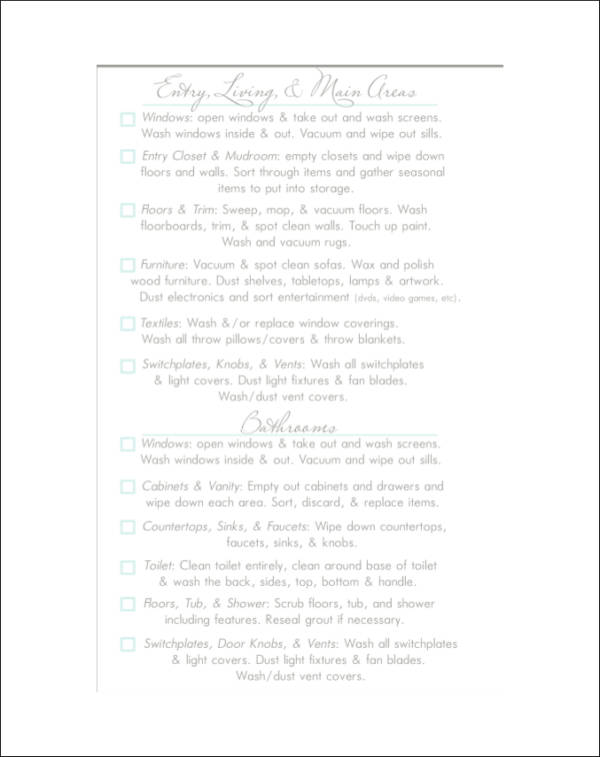 lovely printable spring cleaning checklist template1