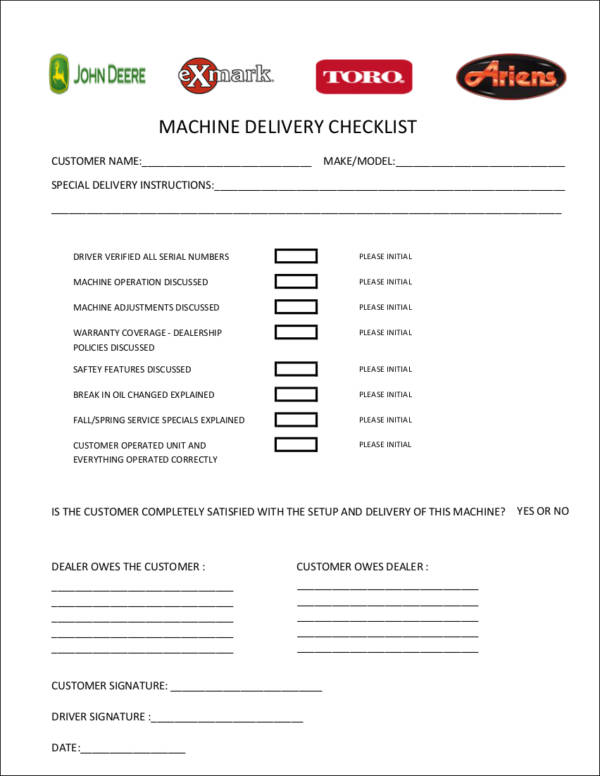 free 19  delivery checklist samples  u0026 templates in word