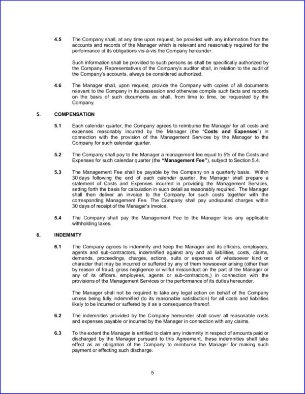 management and administrative services agreement contract template