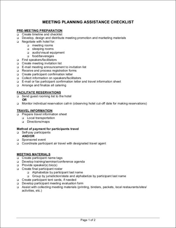 meeting planning assistance checklist