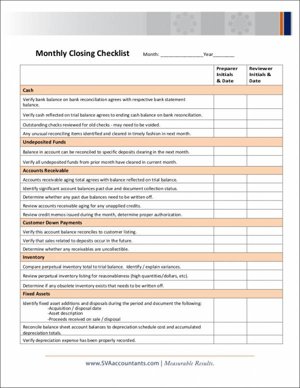 monthly checklist template - Monza berglauf-verband com