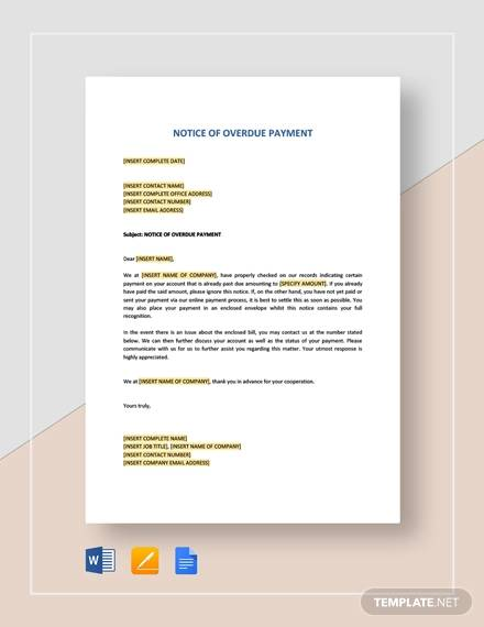 notice of overdue payment template