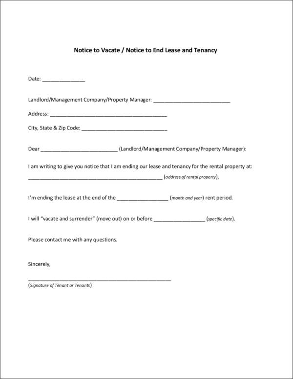 10 tenancy notice samples templates sample templates for Notice to end tenancy template