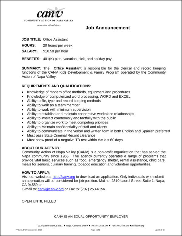 office assistant job profile sample