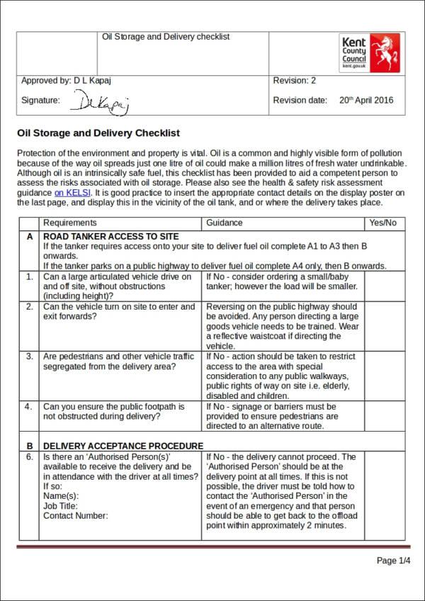 oil delivery checklist sample