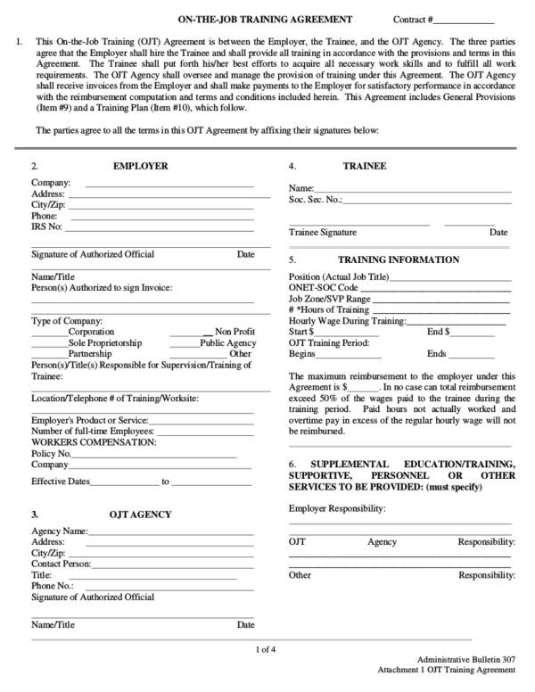on the job training agreement contract template