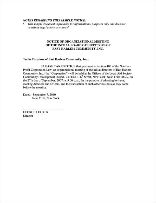 organizational meeting notice sample