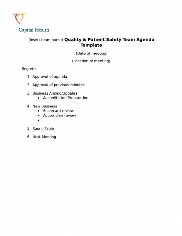 patient safety team agenda template