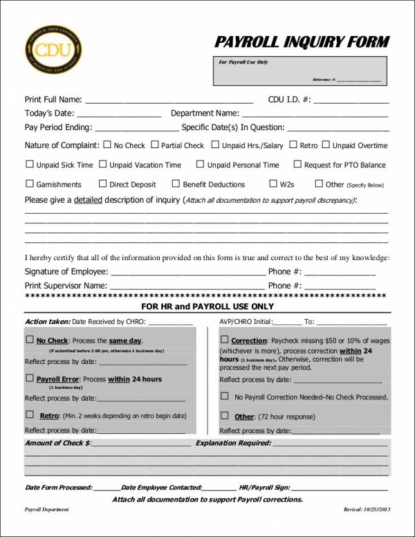 payroll inquiry form template