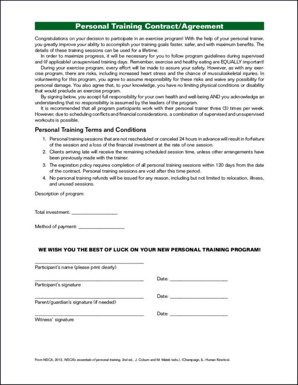 personal trainer contract templates - 15 training contract samples templates sample templates