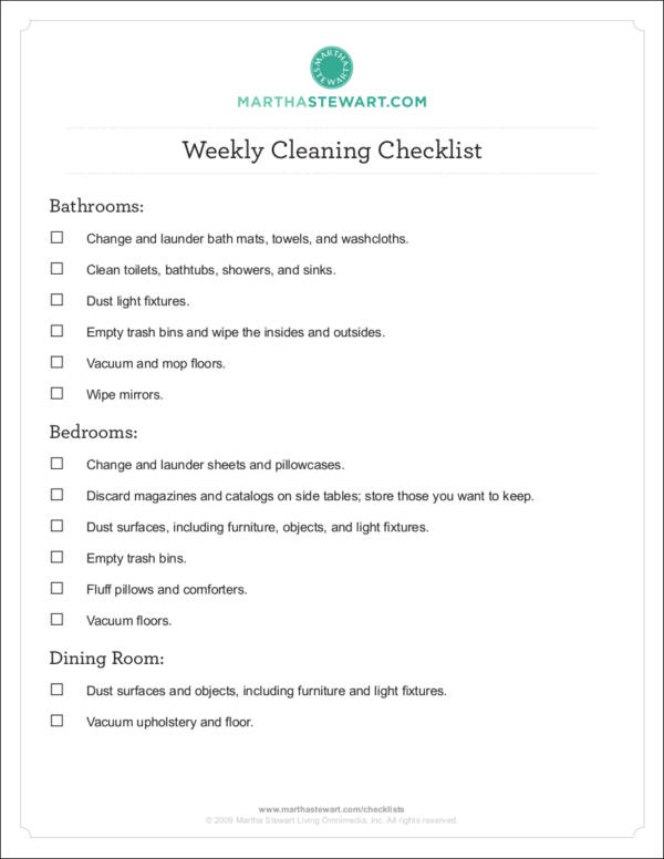 personal weekly clean checklist template1