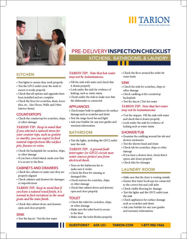 pre delivery inspection checklist