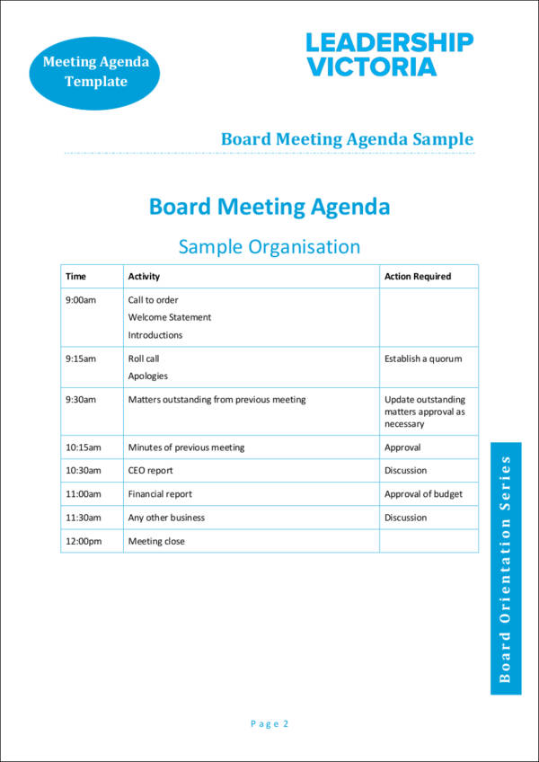 printable board agenda template