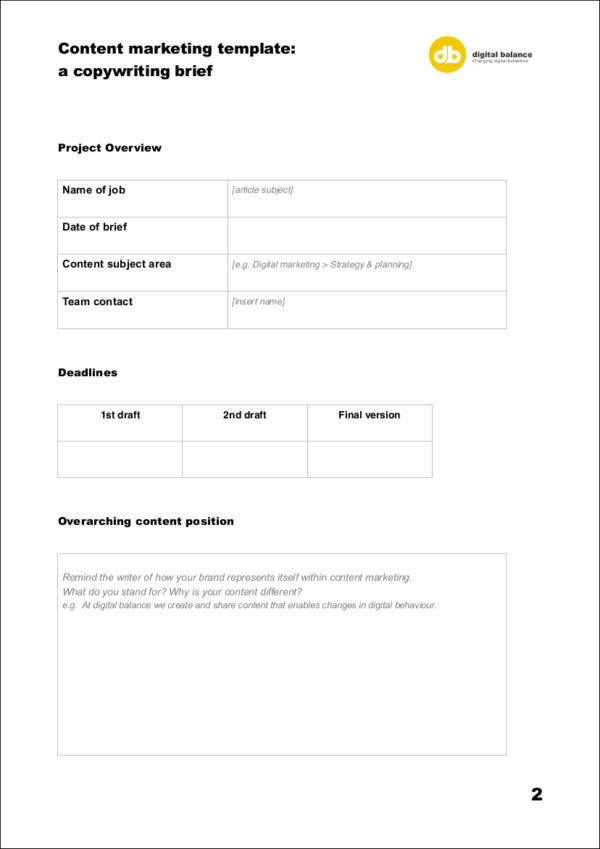 printable content marketing template