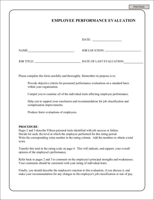 printable employee performance evaluation form