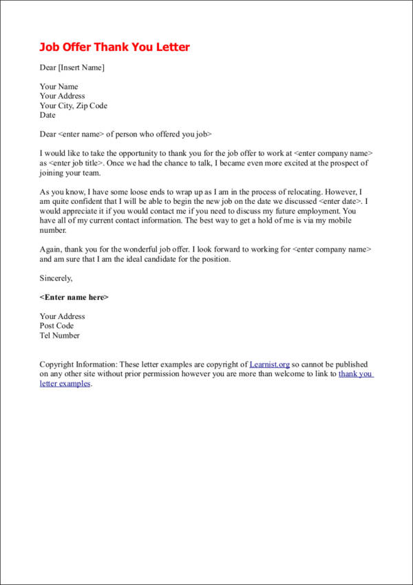 writing job offer thank you letter
