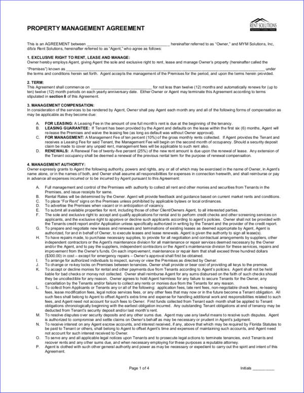 printable property management agreement contract template