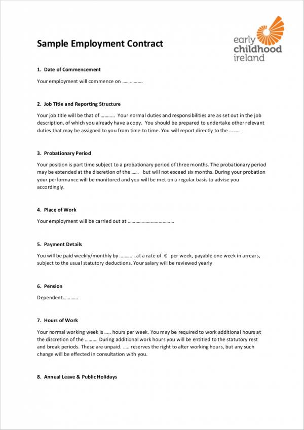 printable sample employment contract