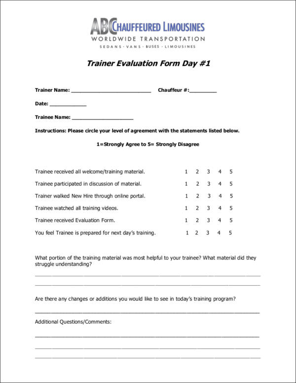 printable trainer evaluation form template