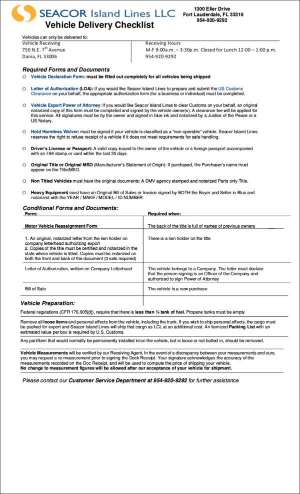 printable vehicle delivery checklist