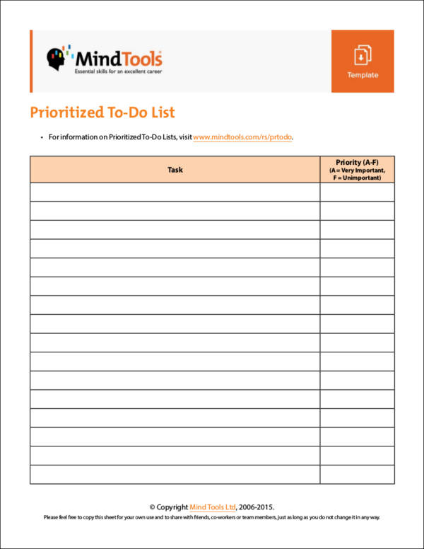 prioritized checklist template