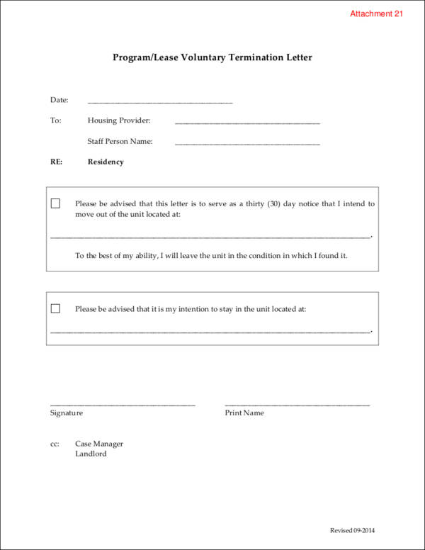 program lease voluntary termination letter