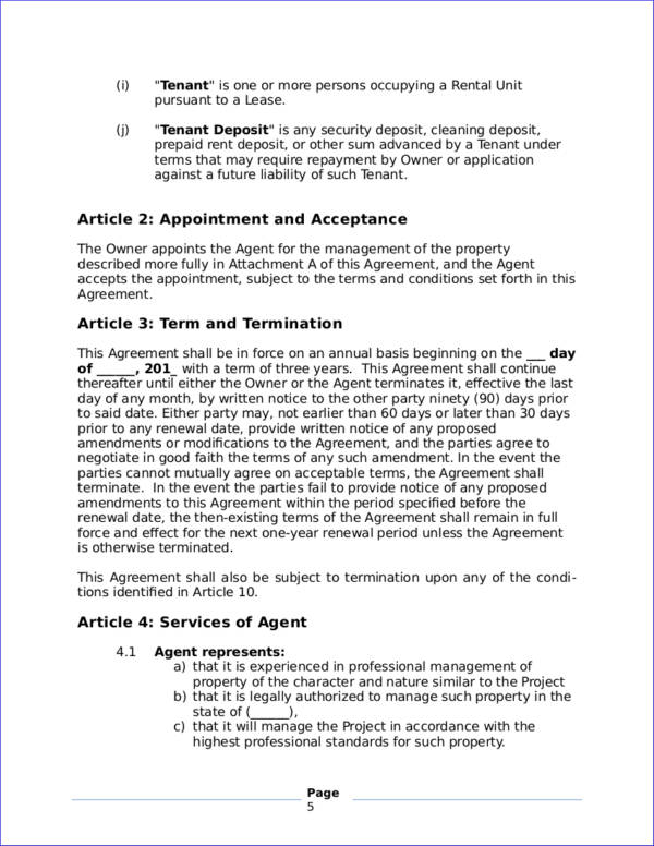 property management agreement contract template
