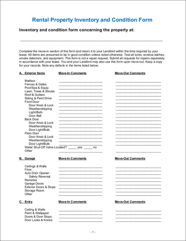 rental property inventory and condition checklist sample
